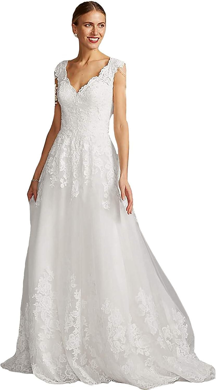 ☆送料無料☆ 当日発送可能 IVYPRECIOUS タイムセール Lace Wedding Dresses and Scalloped Tulle V-Neck