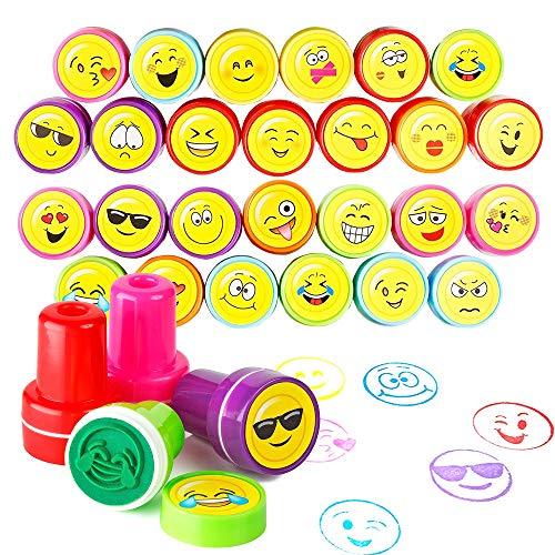 THE TWIDDLERS 36pcs Stempel Kinder Set - 10 Emoji Designs Smiley Selbstfärbende Stempelset Piñata Füllstoffe, Zubehör für Party Taschen - ideales Innenspielzeug für Kinder