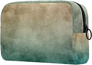 Dark Green Brown Makeup Bag Toiletry Bag for Women Skincare Cosmetic Handy Pouch Zipper Handbag