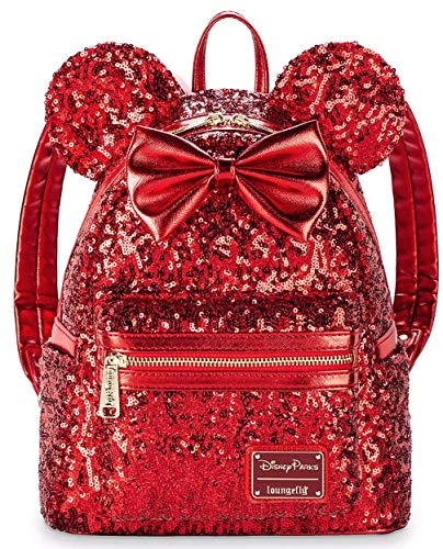 Disney Parks Loungefly Minnie Mouse Red Sequin Mini Backpack + 1 Note/Gift Card