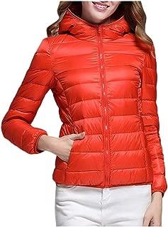 JESPER Womens Lightweight Down Jacket Packable Thin Puffer Down Coats Short Parka Jackets Winter Overcoats with Pockets