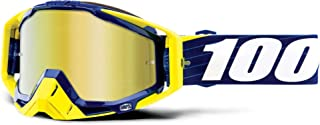 100% RACECRAFT Goggles Bibal/Navy - Mirror Gold Lens, One Size