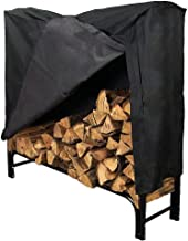 Sunnydaze 4-Foot Firewood Rack Outdoor with Cover Combo - Heavy-Duty Steel Outdoor Log Holder - Black