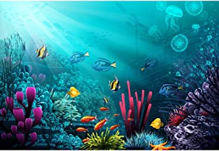 Yeele 7x5ft Vinyl Underwater Coral Reef Backdrop for Photography Ocean Under The Sea World Jellyfish Shipwreck Background Birthday Party Decorations Photo Booth Shooting Studio Props Wallpaper