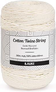 ilauke Corde en macramé 3mm x 300m Corde de Coton 4-Ply Naturel Coton Cordon pour Hanging Plant DIY Décoration,Tisser des ...