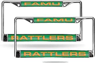 Rico Florida A&M FAMU Rattlers NCAA Chrome Metal (2) Laser Cut License Plate Frame Set