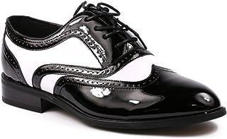 Miko Lotti TPCK01103 Men`s Black White Patent Perforated Wing Tip Lace Up Oxford Dress Shoe