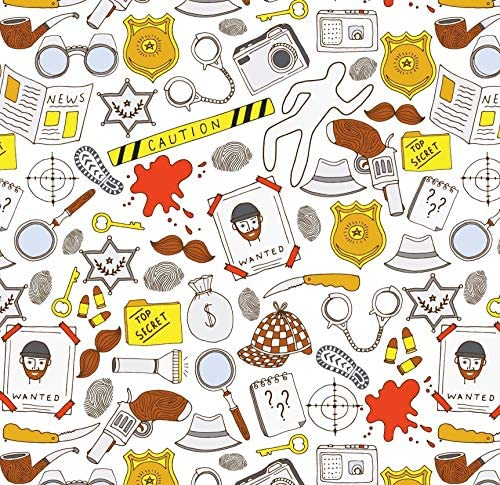 Crime Scene Wrapping Paper Funny Gift Wrap Folded Flat 30 x 20 Inch 3 Sheets product image