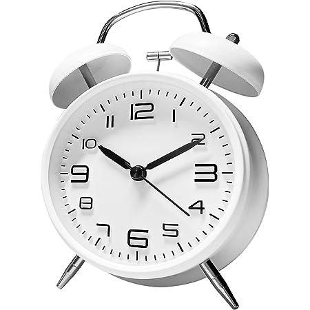 ANHEQ 大音量 目覚まし時計 アナログ めざまし時計 おしゃれ ベル 連続秒針 卓上時計 静音 置時計 電池式 起きれるめざまし時計 (白)