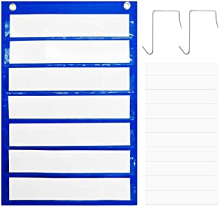Magnetic Pocket Chart KINDPMA Classroom Resources Pocket Charts with 10 Dry Erase Cards & 2 Hooks Hanging for Display of D...