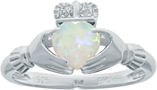 39 Ct Heart White Opal and Diamond Accent 925 Sterling Silver Ring Size 6
