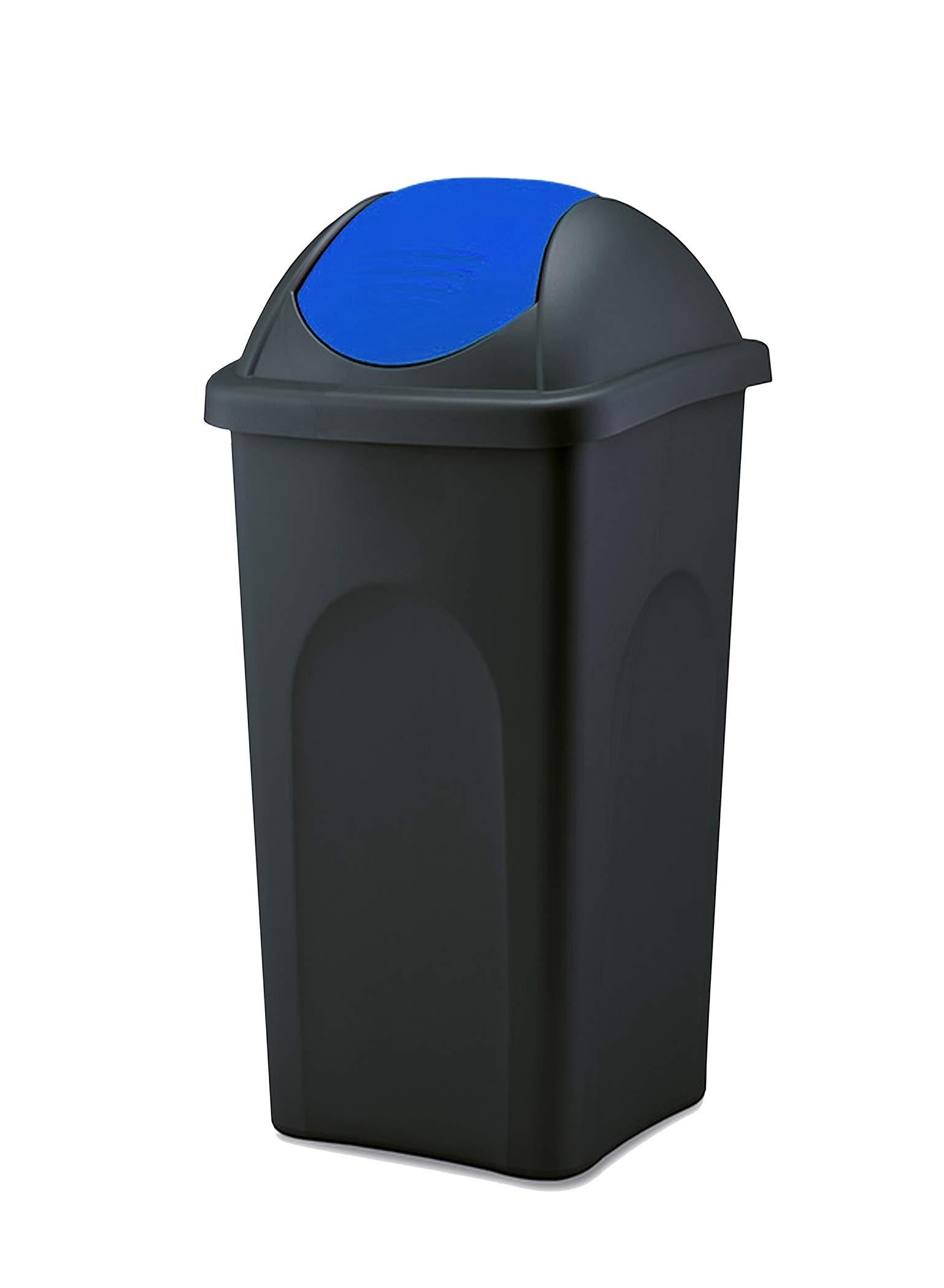BigDean Mülleimer 19 L groß - schwarz mit blauem Schwingdeckel