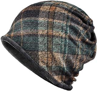 Kangqifen Unisex Plaid Pattern Beanie Hat Cotton and Plush Lining Soft and Flexible Winter Warm Hat Scarf Dual Purpose