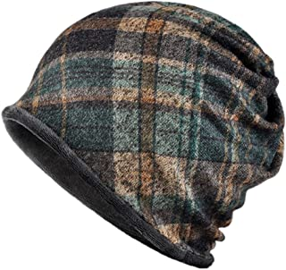 Kangqifen Unisex Plaid Pattern Beanie Hat Cotton and Plush Lining Soft and Flexible Winter Warm Hat Scarf Dual Purpose