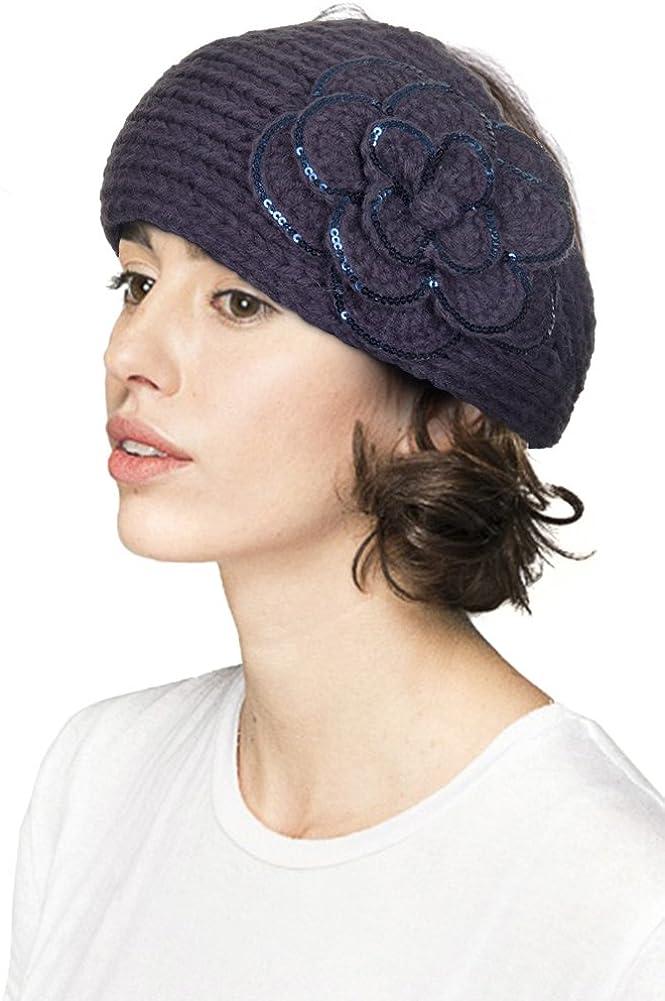 JINS CLOSET Women's Flower Sequin Knitted Winter Cable Headband Headwrap