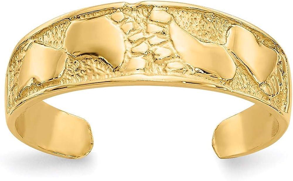 14k Yellow Gold Footprints Toe Ring