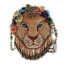 MARY FRANCES Girl Pride Beaded Lion Shoulder Handbag