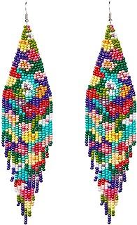 Luluping Long Beaded Dangle Earrings – Boho Native Handmade Seed Bead Tassel Earrings for Women, Bohemian Large Statement Beaded Drop Fringe Earrings