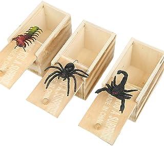 Amosfun Caja Sorpresa de Halloween con Caja de araña Caja de Madera Divertida araña de Juguete Broma de Madera Caja de susto Cajas de Broma Sorpresa prácticas para niños Adultos (patrón Aleatorio)