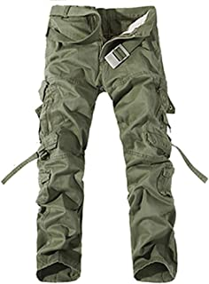 Lutratocro Mens Winter Cargo Sueded Elastic Waist Full Length Jogger Pants