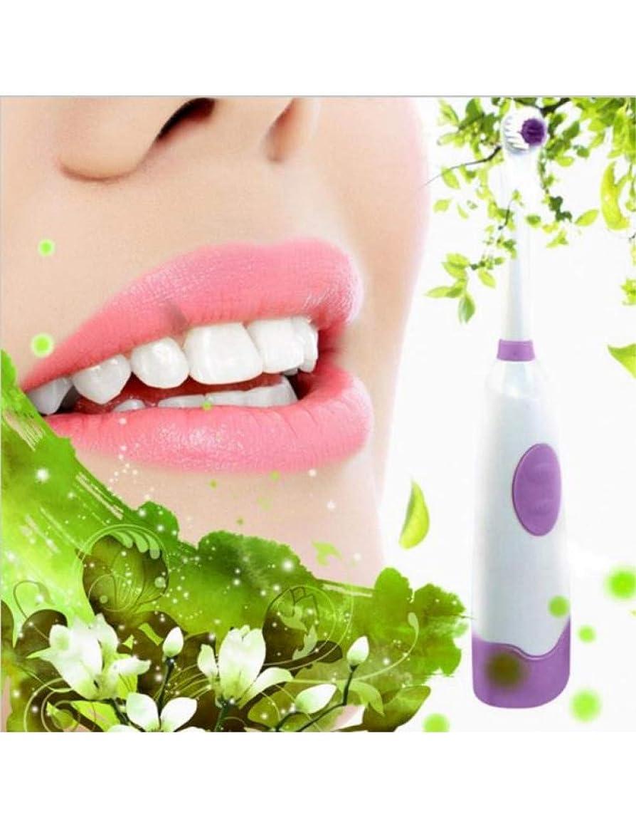 ロータリー電動歯ブラシ大人用電動歯ブラシ子供用歯ブラシ2ブラシヘッド防水回転口腔ブラシ、紫