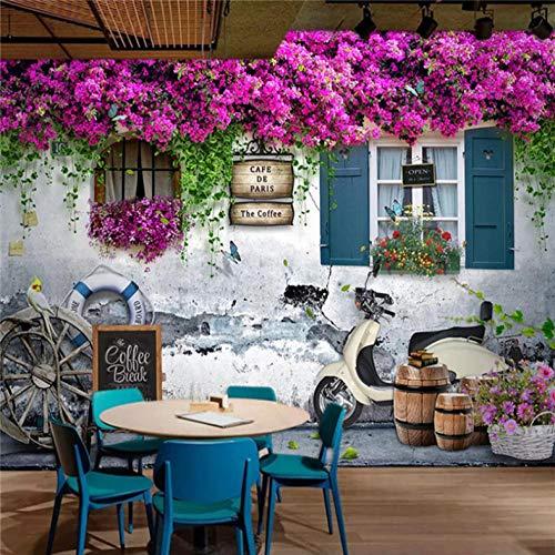 3D grote muurschildering foto muurschildering muurdecoratie achtergrond beeld stereo raam roos bloemen romantische achtergrond 250cmx175cm Lm002