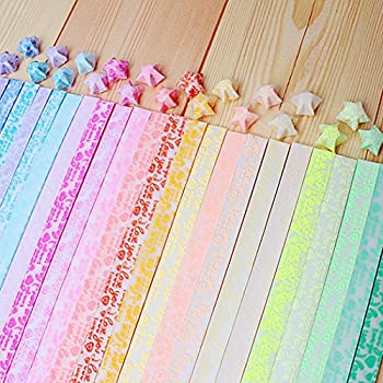 Yeooyoor Origami Stars Papers Package DIY Paper 600 Sheets - 20 Colors  Glows in The Dark
