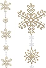 BANBERRY DESIGNS Gold Glittered Snowflake Garland - 4 1/2 Foot Snowflake Garland Strand - Large Hanging Snowflakes - Gold ...