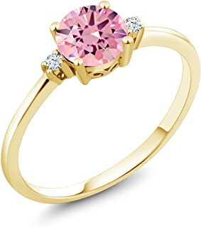 Gem Stone King 10K Yellow Gold Pink Zirconia and White Created Sapphire Women's Engagement Ring (1.53 Ct Round, Available in size 5, 6, 7, 8, 9)