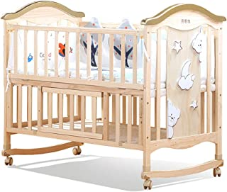 Xuan Yuan Crib - Home Solid Wood Paint-Free Crib Cradle Bed Multi-Function Children's Newborn Stitching Bed Variable Desk Baby Play Fence (Size : 106x64x98cm)