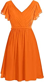 CladiyaDress Women V Neck Chiffon Ruffles Short Bridesmaid Dress Homecoming Gown D090LF