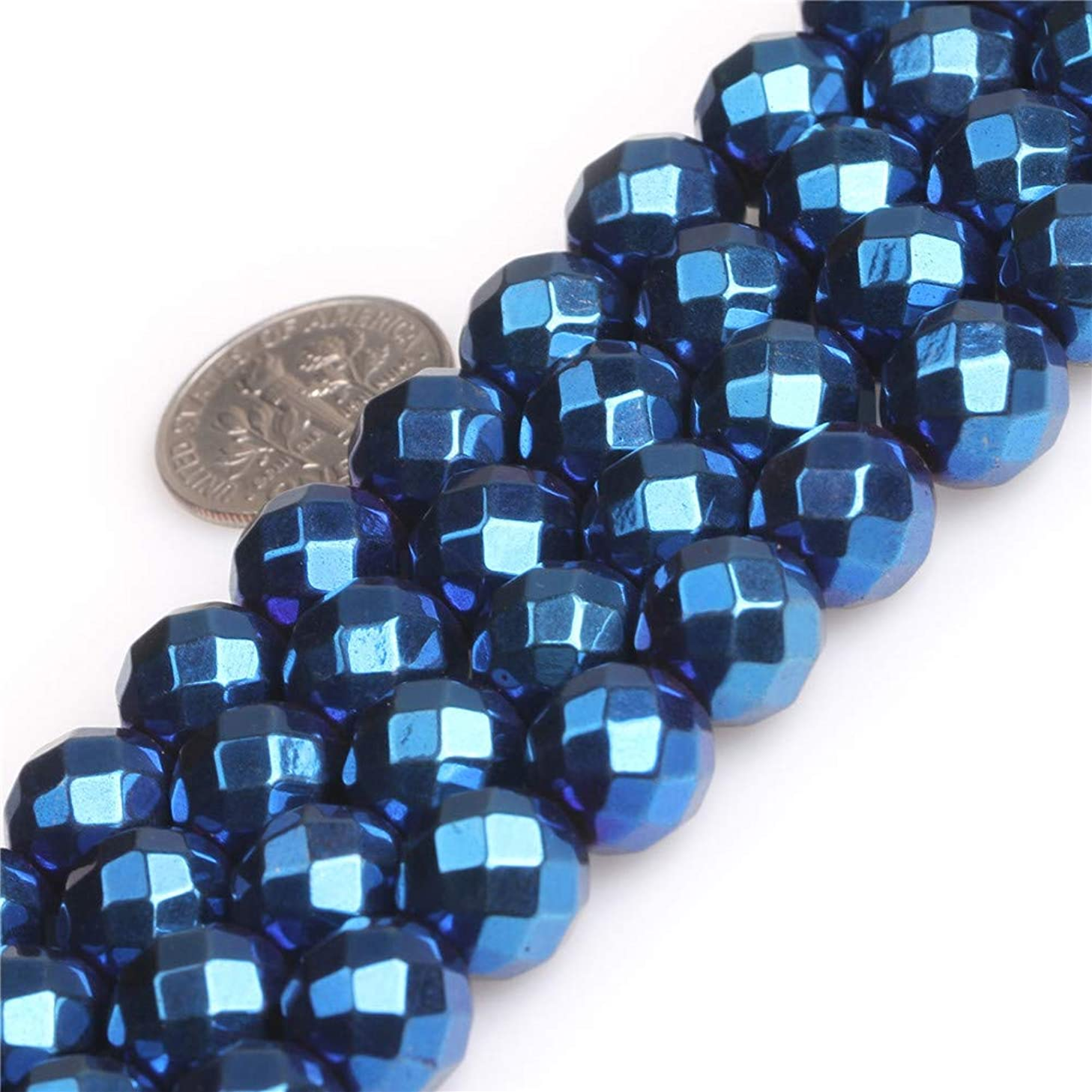 JOE FOREMAN Blue Metallic Coated Magnetic Hematite Gemstone Beads for Jewelry Making Strand 15