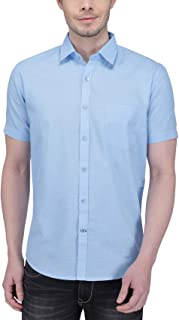 Southbay Sky Blue Linen Cotton Business Casual Shirt for Men