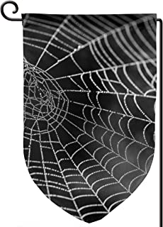 Spider Web with Water Beads Dewdrop Garden Banner Double-Sided Printing Decoration Flag, Indoor and Outdoor Decorative Waterproof Polyester Holiday Home Banner 12.5 X 18 Inches