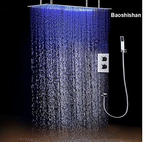 Dusche System Deckenleuchte Wickeltasche groß Regendusche Set 3Farben LED Temperatur Sensor Dusche Head Thermostat Dusche Set 500* 1000mm