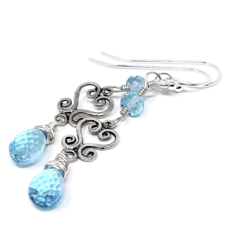 Blue Topaz Earrings Sterling Silver Nove Milwaukee Mall Gemstones Dangle Nashville-Davidson Mall Scroll