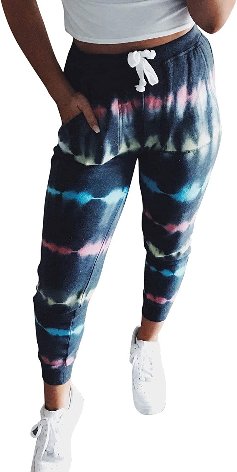 Pink Wind Ladies Tie-Dye Lounge Jogger Pants Drawstring Stretchy Yoga Activewear Clothes with Pocket Blue S