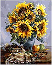 Crafts Graphy DIY Paint by Numbers, Sunflower Home Wall Decor, Canvas Acrylic Oil Painting by Number Kits for Adults/Kids/Beginner, Large Size 16x20 Inch