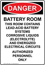 Danger Battery Room Contains Lead-Acid OSHA Safety Label Decal, 5x3.5 in. Vinyl 4-Pack for Process Hazards Restricted Access Hazmat by ComplianceSigns
