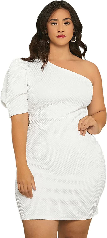 SheIn Women's Plus One Shoulder Puff Short Sleeve Bodycon Short Mini Dress