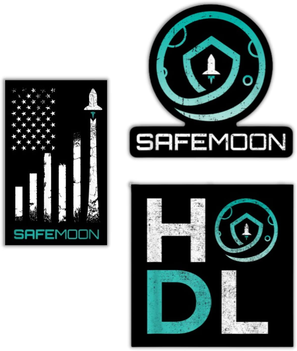 Chattanooga Crypto HODLing Co Safemoon Cryptocurrency Stickers (3 pack)   for fans of Crypto, Dogecoin, Bitcoin, Ethereum, Cardano, Safemoon shirt   Stickers for adults   Stickers for teens   Laptop stickers   Safemoon Sticker   Safemoon Stickers   Barstool Sports