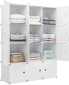 Aeitc Large Storage Cubes- 14''x 18'' Cube(12 Cube)-Clothes Organizer, DIY Cube Organizer, Closet Organizer with Doors, Modular Bookshelf Units, Toy Organizer, White