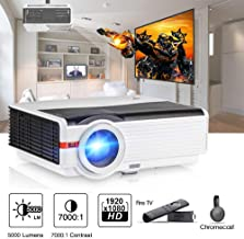 $405 » 5000 Lux High Brightness Video Projector with HDMI USB, Home Theater Multimedia Projector Support Full HD for Outdoor Entertainment Gaming, Compatible with PC Xbox PS3 Laptop Roku TV Box Smart Phone
