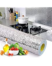 Kitchen Backsplash Wallpaper Stickers Self Adhesive Aluminum Foil Stickers Oil Proof Waterproof Kitchen Stove Sticker 15.75 * 118 Inch
