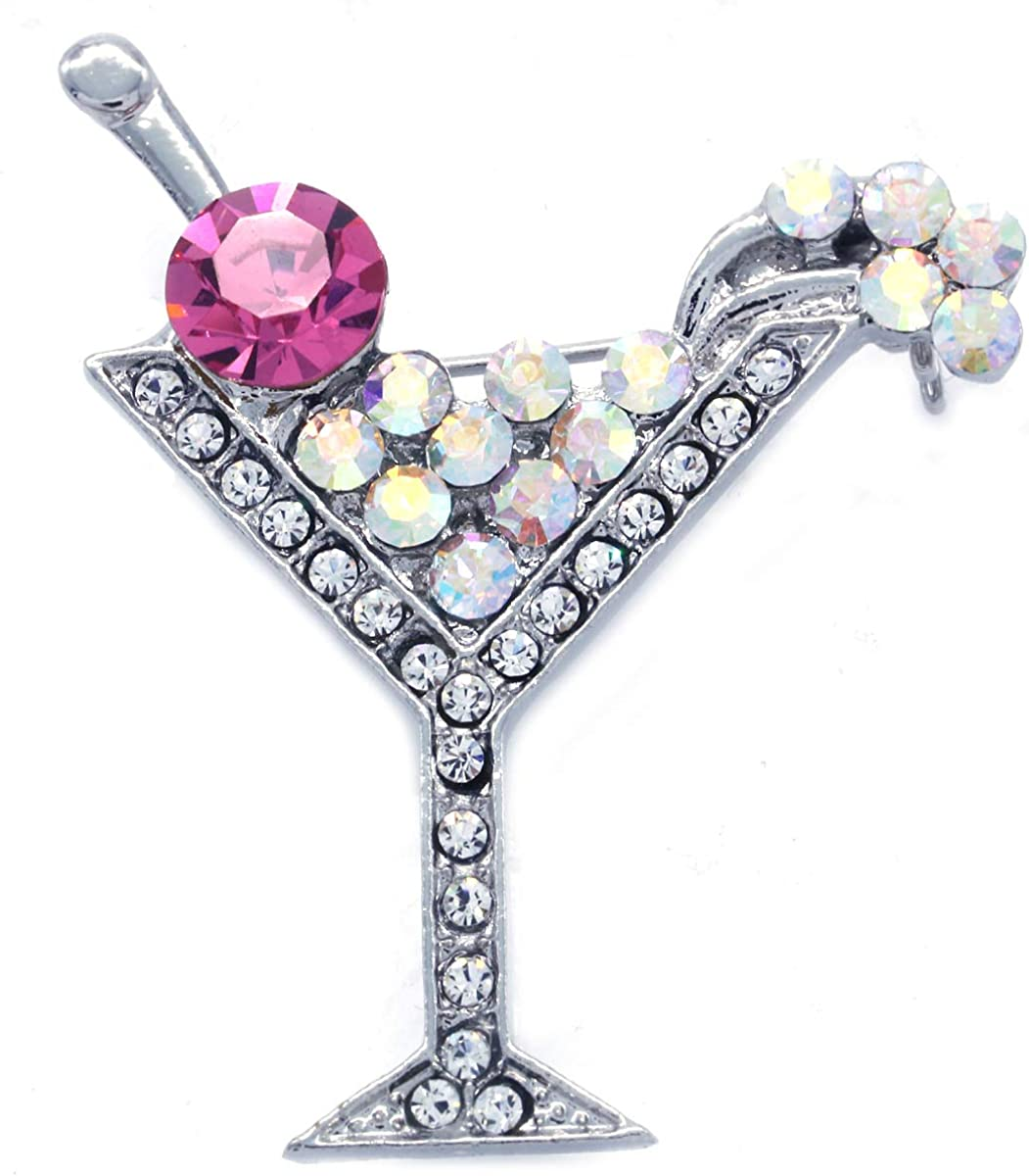 SoulBreezeCollection Party Cocktail Martini Glass Light Pink Brooch Pin Clear Rhinestones