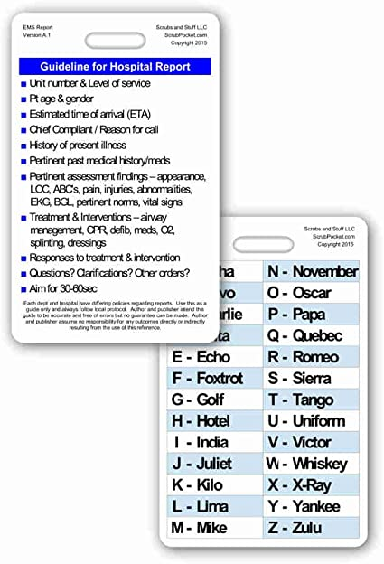 Amazon Com Hospital Report Guidelines W Phonetic Alphabet Vertical Badge Card 1 Card Health Personal Care