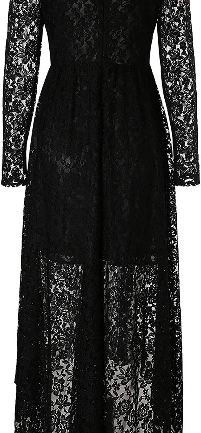 Womens Short Sleeve Dress Women Deep V Neck Vintage Floral Lace Fabric Long Sleeve High Waist HighLow Hip Lace Party Cocktail Midi Dress (Size   L)