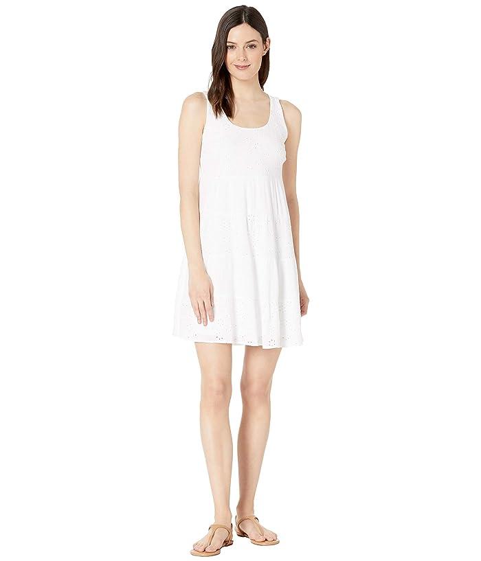 Tribal Woven Eyelet Sleeveless Dress (White) Women