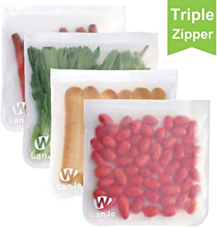 Triple Lock Reusable Gallon Storage Bags - LEAKPROOF Ziplock Gallon Freezer Bags for Marinate Meats, Snack, Sandwich, Fruit, Cereal, Travel Items, Meal Prep, Home Organization - 4 Pack