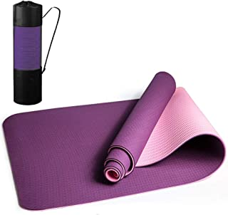Yoga Mat Thick, TPE Non Slip, Eco Friendly Fitness Anti-Tear Exercise Mat, Gym mat with Carrying Strap, 8mm Thick, Extra L...